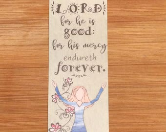 Bible Verse Bookmark - Psalm 107:1 -  handmade WITHOUT tassel  (stock #18) give thanks unto the Lord