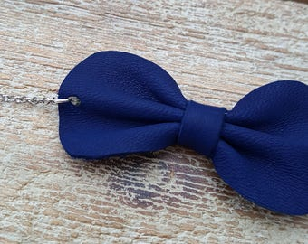 Navy blue leather bow bracelet size adult or child