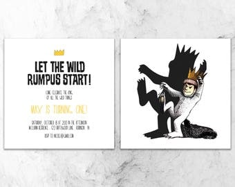 where the wild things are invitation - birthday party invitation - front/back party invite - custom - digital - printable