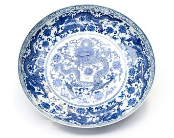 Chinese Blue and White Charger with qianlong mark diameter 40cm