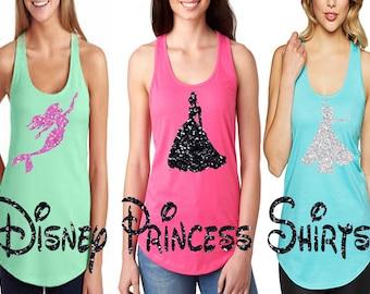 Glitter Women's Disney Shirt I Choose your Favorite Disney Princess I Great for Girls Trip or Family Trip to Disneyland or Disney World