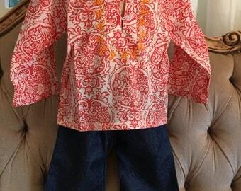 Retro Kids orange long sleeve summer top