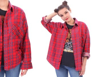 Red Plaid FLANNEL Shirt Button Up 90s Grunge Red Flannel Checkered Long Sleeve 1990s Lumberjack Vintage Blue Retro Down Medium Large