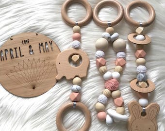 New look- Baby play gym toys- set of 3, hanging wooden toy, beech wood and silicone- baby girl peach, white & marble
