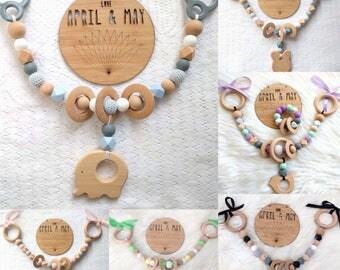 Pram garland, pram toy, teether, rattle- made to order/custom options