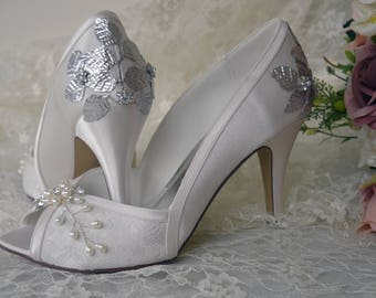 Wedding Bridal Shoes Silver Gold Rose Leaf Leaves Heels Peep Toe Custom Embellished Pearl Diamante