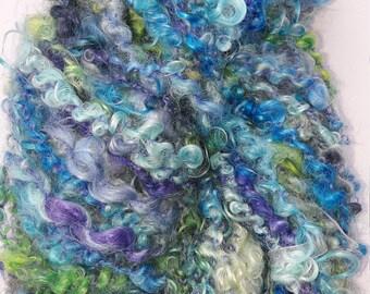 Mohair art yarn, handspun, petfibre, 50 yards, medium bulky yarn 'Buttons'