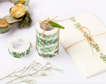 Green Leaves Washi Tape Set - Green Life Series, Planner, Journal, Craft, Scrapbooking, Decoration