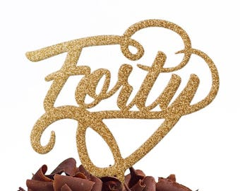 Forty Cake Topper Birthday Party - 40 Cake Topper - 40th Cake Topper - Fortieth Cake Topper - Same Day Worldwide Despatch