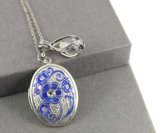 Enamel Flower Photo Locket with Fillable Glass Orb, Memorial Jewellery, Urn Locket, Cremation Jewelry, Fillable Jewelry, Cremation Necklace