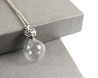 Fillable Glass Ball Necklace, Memorial Jewellery, Memorial Locket, Urn Locket, Cremation Jewelry, Cremation necklace, Glass Urn Necklace