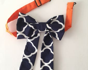 Morrocan Color Block Womens Bow tie| Orange| Blue & White Morrocan