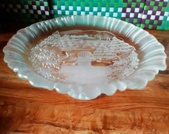 Frosted Glass Pedestal Dessert Tray
