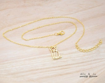 Origami cat plated necklace gold / / gifts for her