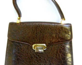 SAKS FIFTH AVENUE Chic Embossed Brown Leather Handbag c 1970s
