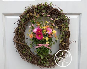 Spring Wreath, Easter Wreath, Wildflower Wreath, Wreath Street Floral, Front Door Wreath, Rustic Wreath, All Season Wreath, Summer Wreath