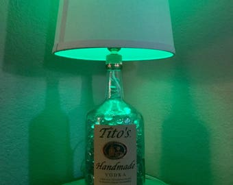 Handmade Lamp from a Recycled Titos Vodka liquor Bottle (filled with clear marbles will be extra and also higher postage)
