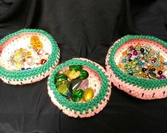 Crocheted Watermelon Baskets