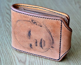 Baby gift for first time dad, newborn gift, beige leather wallet, customized billfold hand tooled with baby portrait, birthday present