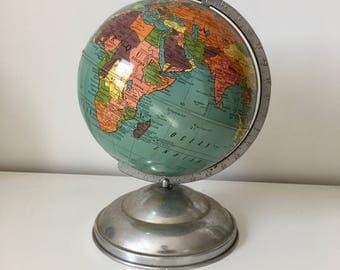 Globe earth metal Taride 29 cm vintage 1950