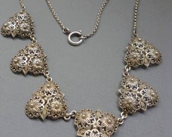 Antique 800 Solid Silver Art Nouveau Choker Necklace Filigree Flower in VGC Handcrafted European Fully Hallmarked