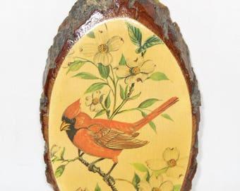 Cardinal In Tree Wood Slice Wall Hanging
