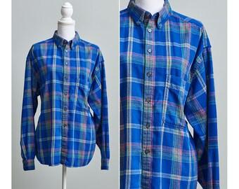 Womens Flannel Shirt, 90s Plaid Flannel Shirt, Blue Flannel Shirt