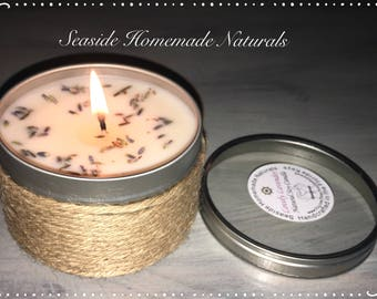 LOVELY LAVENDER Natural Soy Candle, Aromatherapy Candle, Pure Essential Oil, Soybean, Lavender Flower, Spa, Gift, Calm, Dye Free