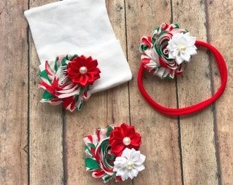 Christmas baby hat - christmas girl hat - baby girl gift - christmas nylon headband - baby shower gift - christmas mom hair clip se