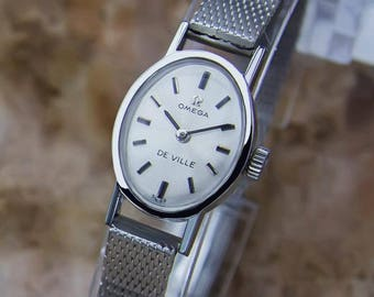 Omega DeVille Swiss Made Stainless Steel Lady Manual 1960s Luxurious Watch Y109