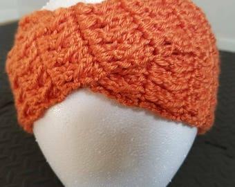 Crochet head wrap / ear warmer in tangerine
