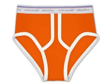 Orange High Waist Retro Briefs, new, jockey briefs, 80s, 70s, vintage underwear, y fronts, mens briefs, chunky, modern, new school
