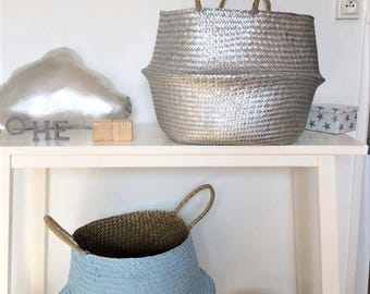 Thai XL wicker basket with silver and sky blue or silver