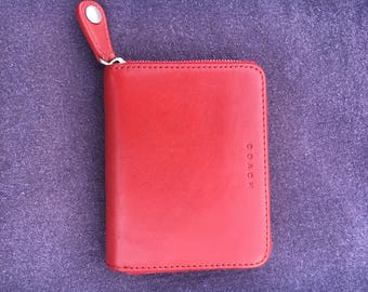 Beautiful Vintage Coach Red Leather Zip Wallet / Mint Condition