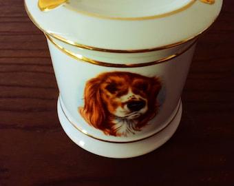 Tobacco pot - ashtray - dog decor - Vintage - porcelain Limoges - Made in France - snuffbox - retro -