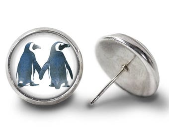 Penguin Couple Earrings - Penguin Earrings - Penguin Jewelry for Her (Pair) Lifetime Guarantee (E0490)