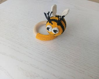 Bee on a teething ring Wooden toy Cute little Crochet teether Simple Natural toy New baby toy Wooden ring Baby shower gift Easter sale