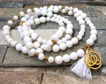 Mala 108 beads chain tassel Buddha Lotus jade mala necklace