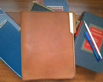 """Leather Folder Cover, Leather Folder, Leather Paper Holder, Leather Office Supplies  8 1/2"""" x 11""""  Caramel Leather"""