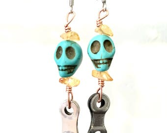 Day of the Dead/chain link earrings