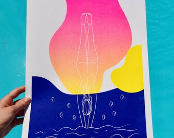Risograph print - Plunge into the unknown