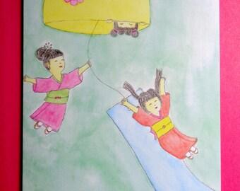 Kawaii Kokeshi Wind Chime Card- Cute Friendship Card-Playful Kokeshi Card