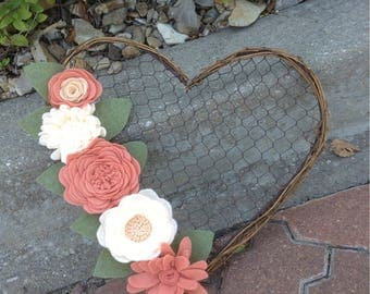 "Heart Shaped Chicken Wire Wreath with Peach and Cream Handmade Felt Flowers              14""x13"""