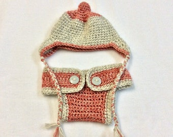 READY TO SHIP Crochet Newborn Hat and Diaper Cover Set For Baby Shower Gift or Baby Photo Prop Outfits, Hand-Crochet for Baby 0-6 Months