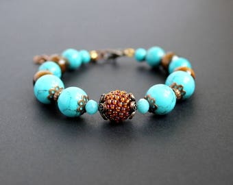 Turquoise beaded bracelet Brown beaded bead Tiger eye turquoise jewelry Colorful woman bracelet Blue turquoise gift Turquoise summer jewelry