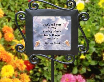 Personalized Memorial Garden Stake Dove Gods Hands Memorial Garden Plant Marker