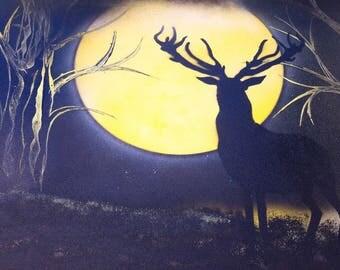 Deer in the Moonlight, Spray Paint art, Paintings, art, paintings for sale, paintings on canvases, spray paint, art for sale, wall decor