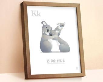 Koala Print | Nursery Animal Print | Alphabet letters | Alphabet Print | ABC letters | Animal Prints for Nursery | Nursery Wall Art