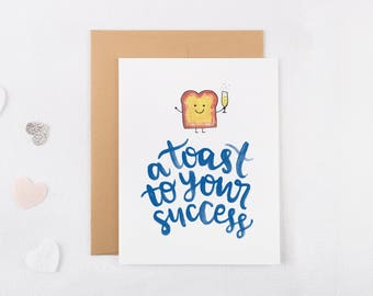 A Toast To Your Success Congratulations Card - Funny Congratulations Card - Graduation Card - Funny Graduation Card - Congrats Card