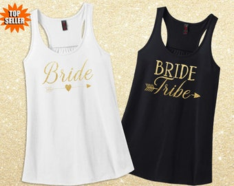 Bachelorette Party Tank Tops - Bride Tribe Shirts - Matching Glitter Bride and Bridesmaids Shirts Custom Bride Tribe Tanks Free Shipping!